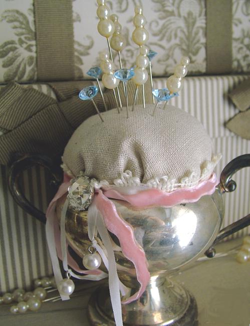 Sugar bowl pincushion