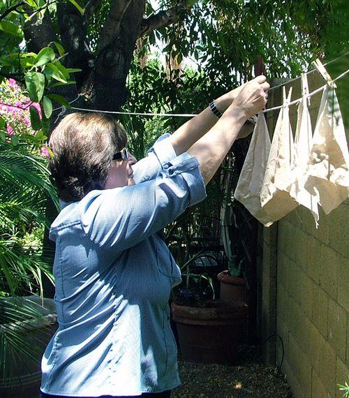 Karen Hanging the Linen